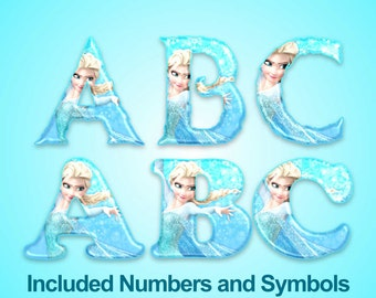 Princess Elsa - Alphabet Clipart - Frozen Alphabet - 94 png files 300 dpi