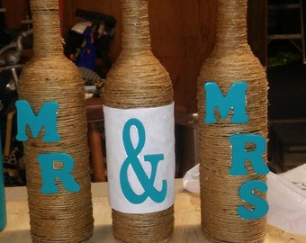 Twine Wrapped Mr & MRS bottles