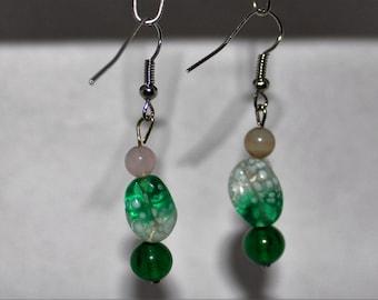Lovey Green Bead Dangle Earrings