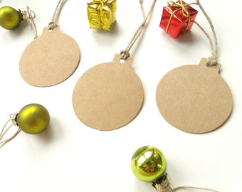 "50 tags labels gift ""Christmas ball"" Kraft 5cm"