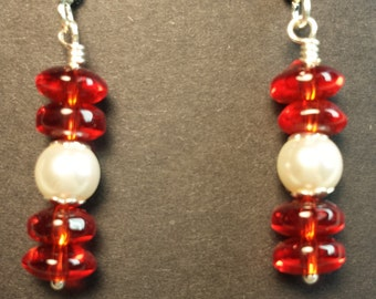Pearl and Red Earrings