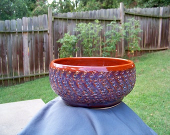 handmade clay bowl with Purple accents