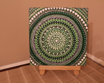 "Aboriginal Inspired Pointilism Dot Mandala Canvas Painting 10""x10"""