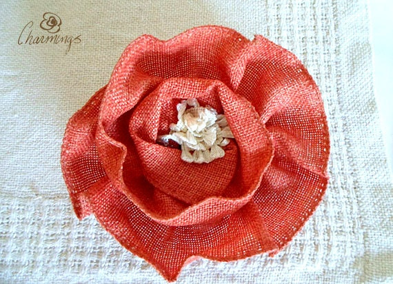 FLOWER - Coral Belle Textile Floral Brooch, Flower Pin, Jewelry, Home Decor, Fashion Accessory, Office Accent, Purse Bling, Hair Accesory