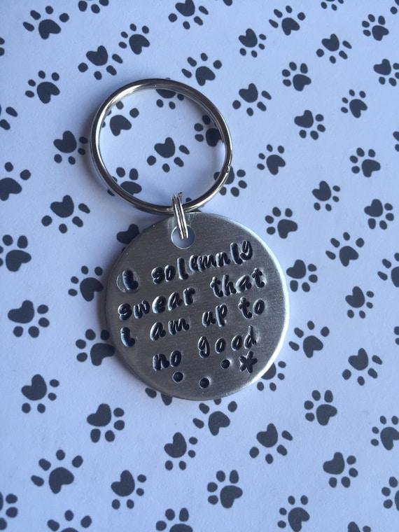 Handmade Aluminium Custom Personalised Dog Tag Handstamped I solemnly swear I am up to no good. Star
