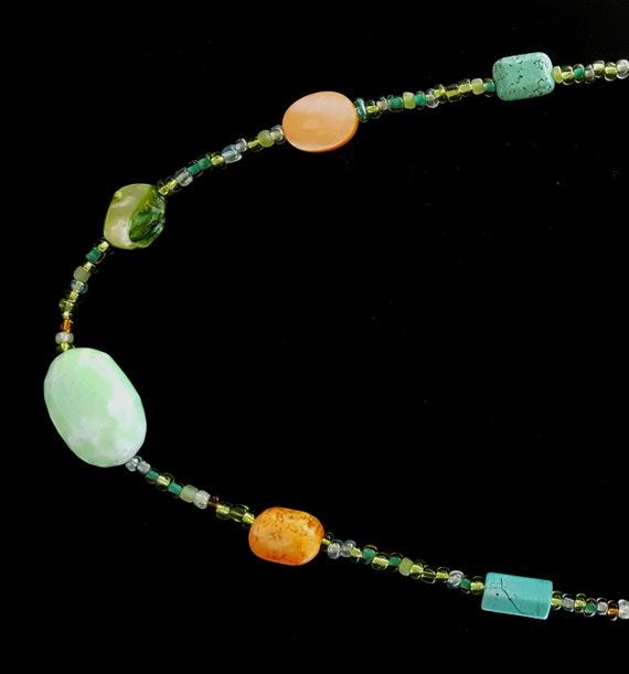 Turquoise Green Orange Necklace/ Southwestern Necklace /  Chunky Stone Necklace / Hippie Necklace / Natural Stone / Boho Jewelry /NA61057