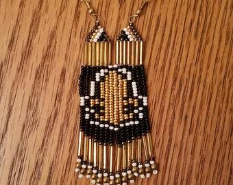 New Orleans Saints beaded fringe earrings