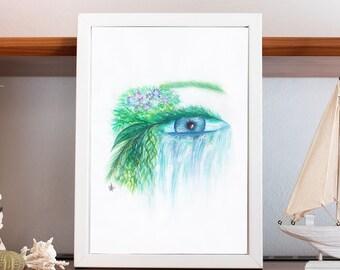Nature, Eye, Waterfall, Abstract art, Art poster, Digital download, Home decor, Printable art, Painting art, Art print, Printable painting