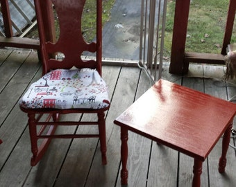 Wooden Rocker Antique & Table refinished and redone