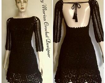 Crochet  Dress, Black  and  white  dress .Elegant dress Coctail .Off White  dress  Crochet dress , Cloting  crochet  dresses ,fashion dress.