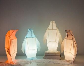 Small Penguin - DIY Colour Paperlamp ( pre-cut papercraft kit, DIY paper lamp )