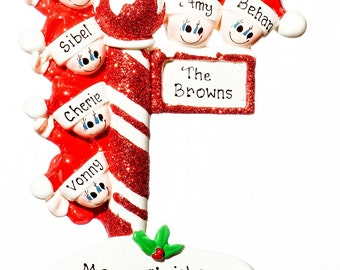 Personalized Ornament-Street Post Family of Six(6)-Free Gift Bag Included