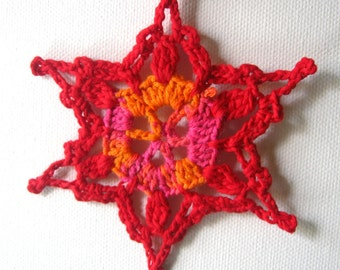 Red Crocheted Handmade Snowflake Christmas Decoration Ornament
