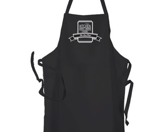 Personalised Black Mens Kitchen Cuisine Cooking Chef BBq Apron by Inspired Creative Design