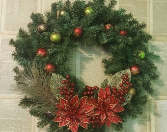 Colorful Poinsettia Red Green Gold Christmas Door Wreath Wall Hanging 30
