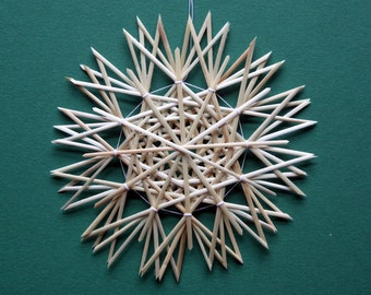 Christmas Tree Decoration - Handmade German Straw Star Ornament – Design 8