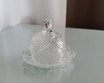Vintage Lead Crystal Avon Butter Dish