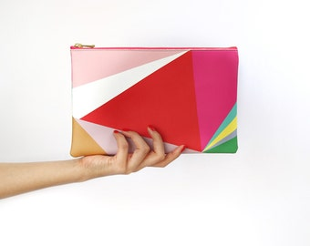 Small Clutch Bag, Red Triangle, Handbag, Printed on Vegan Leather, Abstract Pattern