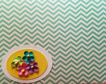 Blank green and white chevron greeting card