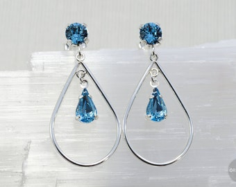"Undine | Sterling silver + Swarovski ""Aquamarine"" crystal 