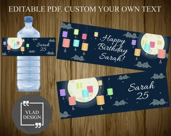Editable PDF Happy birthday water bottle label Party water bottle wrapper DYI Printable  wrapper Add your own text form Custom bottle label
