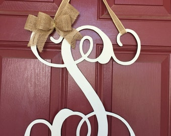 "CUTE 16"" Hand-Cut Finished Cursive Vine Letter Door/ Wall Hanger"