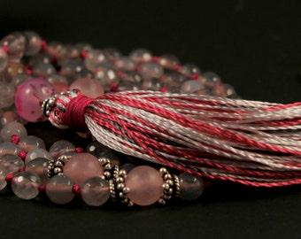 Grey Agate Mala Necklace Boho Style. Yoga. Meditation. Ideas for her. Boho Jewelry. Bohemian Necklace. Tassel Necklace