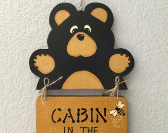 Bear, Sign, Cabin Decor, Home Decor, Wall Hanging, Tole Painting, Decoative Painting