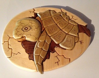 Wood Intarsia Turtle Hatchling