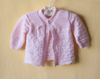 Vintage Pink Knit Cardigan Baby Sweater- Hand knit - 6 months