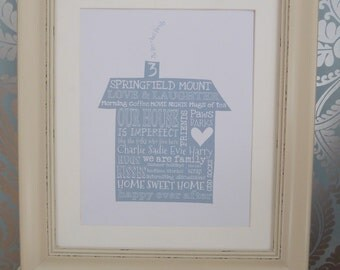 Home Sweet Home, personalised print