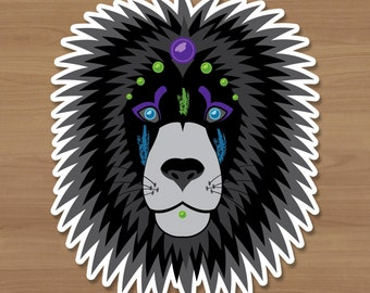 Neon Lion Sticker