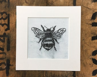Bee Etching Mounted Print
