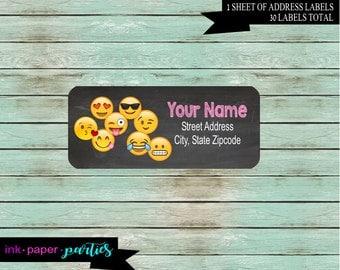 Emoji Emojis Emojicons Birthday Party Return Address Gloss Labels ~ We Print and Mail to You