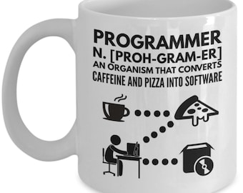 Funny Programmer Mugs - Converts Pizza And Caffeine Into Software - Ideal Programming Gifts