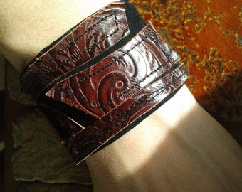 Cuff, leather cuff bracelet with cotton lining