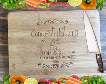 Congratulations - House Warming - Personalised Engraved Bamboo Chopping Board