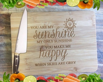You Are My Sunshine - Personalised Engraved Bamboo Chopping Board