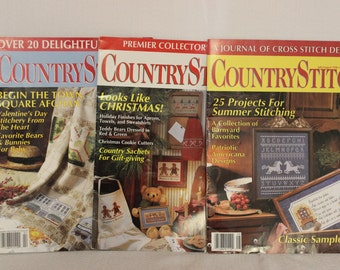 Country Stitch Magazine July/Aug 1990, Jan/Feb 1991 and Premier Collector's Issue