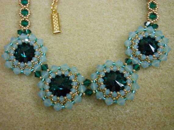 Swarovski Emerald Rivoli's w/ Pacific Opal and Emerald Crystals Necklace Set