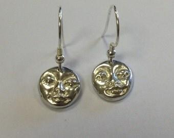 Hand made Fine Silver Moon Face Dangle Earrings