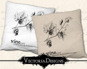 Vine Dictionary digital transfer grapes image iron on printable instant download digital collage sheet VDTRVI0898