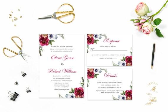 Floral wedding invite word_7,INSTANT DOWNLOAD, Editable Wedding template invitation. Microsoft Word template.Wedding Printable