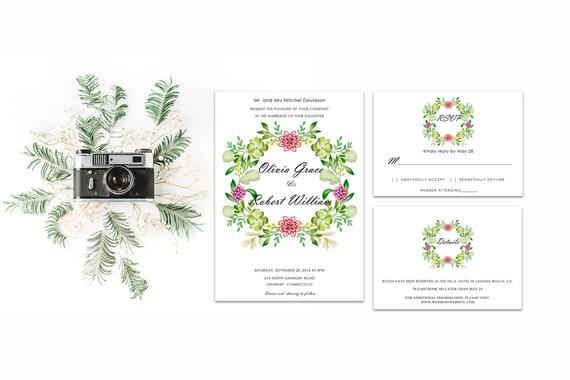 Floral wedding invite word_25,INSTANT DOWNLOAD, Editable Wedding template invitation. Microsoft Word template.Wedding Printable