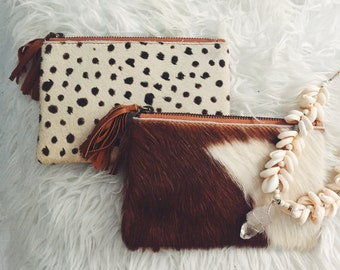 Leather Cowhide Clutch (Multiple Designs avail.)