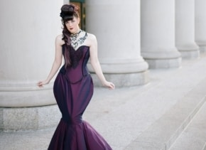 SAMPLE Purple Wedding Dress - Gorgeous Diva - Taffeta and Lace Steampunk Mermaid Gown- Bustle Skirt- Ready to Ship Size MEDIUM -