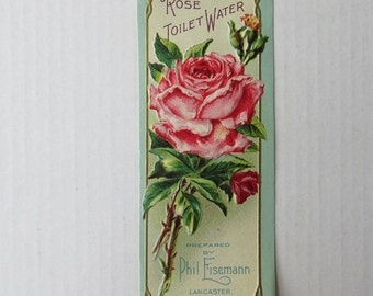 Vintage Paper Label Rose Water Gilded Embossed Cosmetics Circa 1910