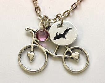 Bike jewelry,Bike Charm Necklace, birthstone bike jewelry, birthstone jewelry, state jewelry, bike state necklace, michigan charm,