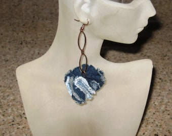 Handcrafted recycled denim Sew Forgiven Earring with copper chain-166