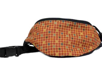 Burnt Sienna Upholstery Fabric Fanny Pack - Waist Bag with 2-zippered pockets